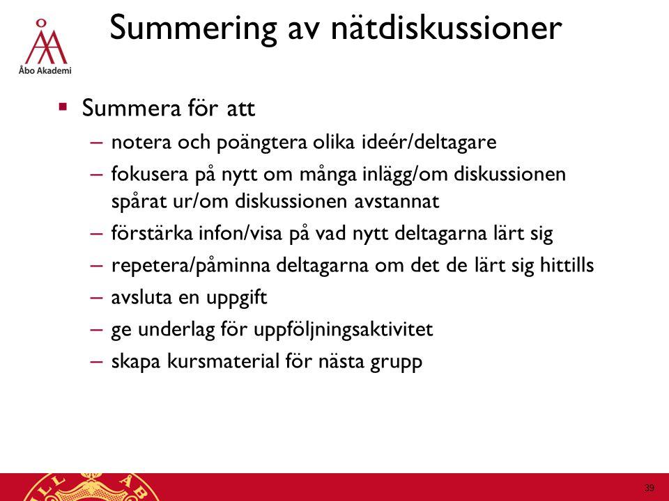 Summering av nätdiskussioner