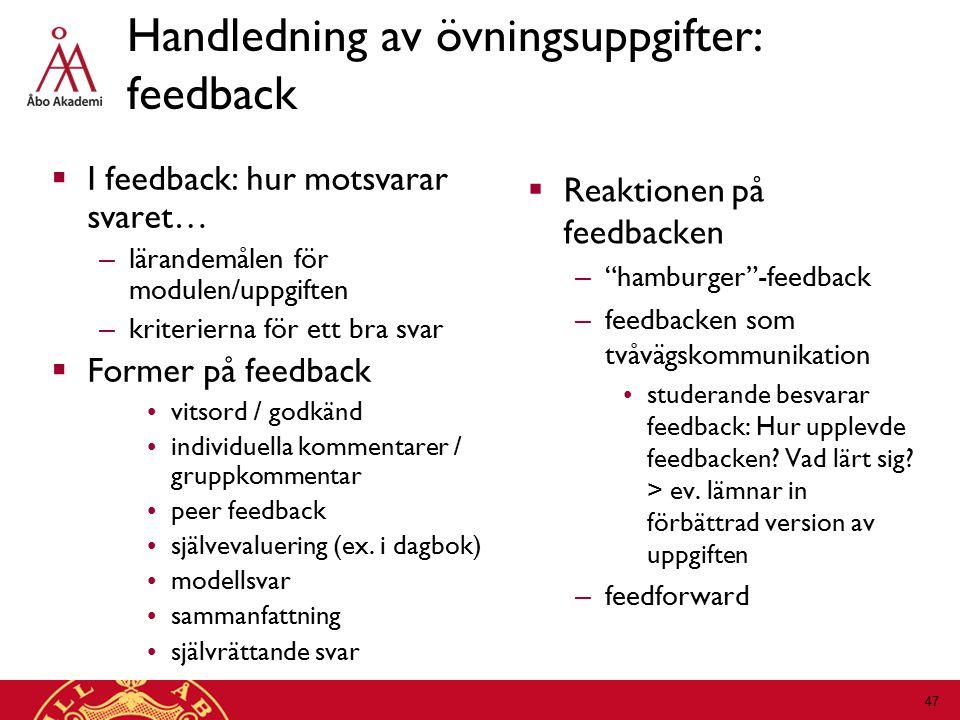 Handledning av övningsuppgifter: feedback