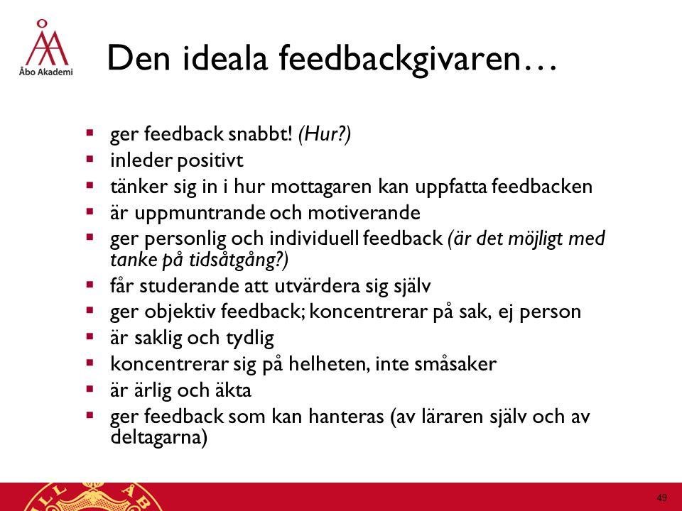 Den ideala feedbackgivaren…