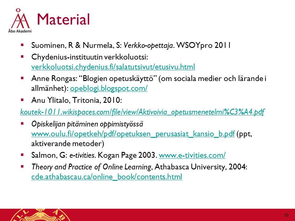 Material Suominen, R & Nurmela, S: Verkko-opettaja. WSOYpro 2011