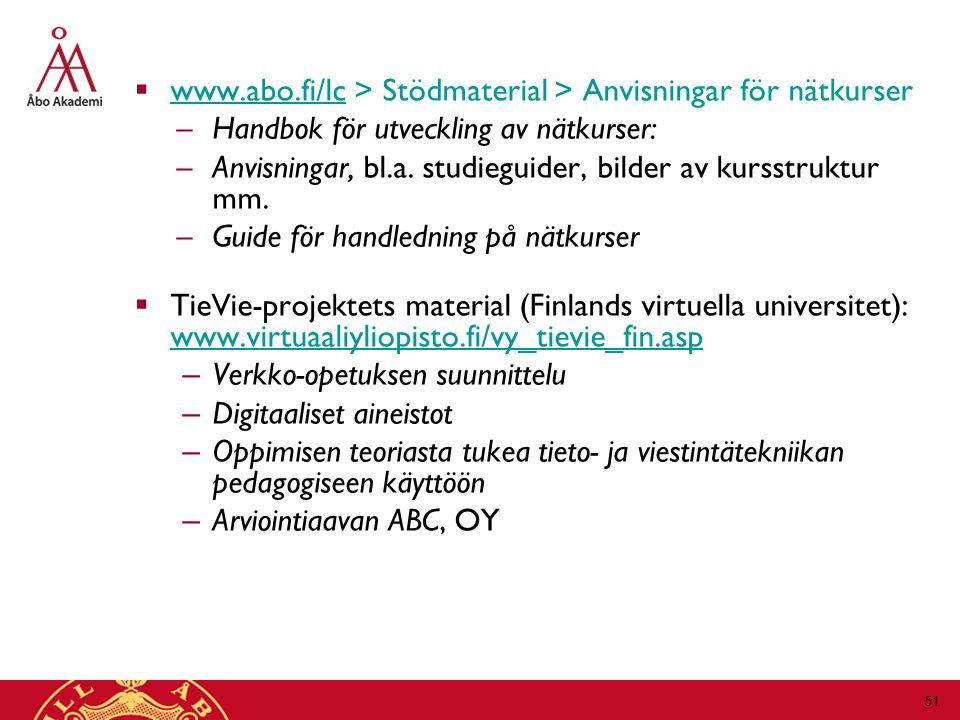 www.abo.fi/lc > Stödmaterial > Anvisningar för nätkurser