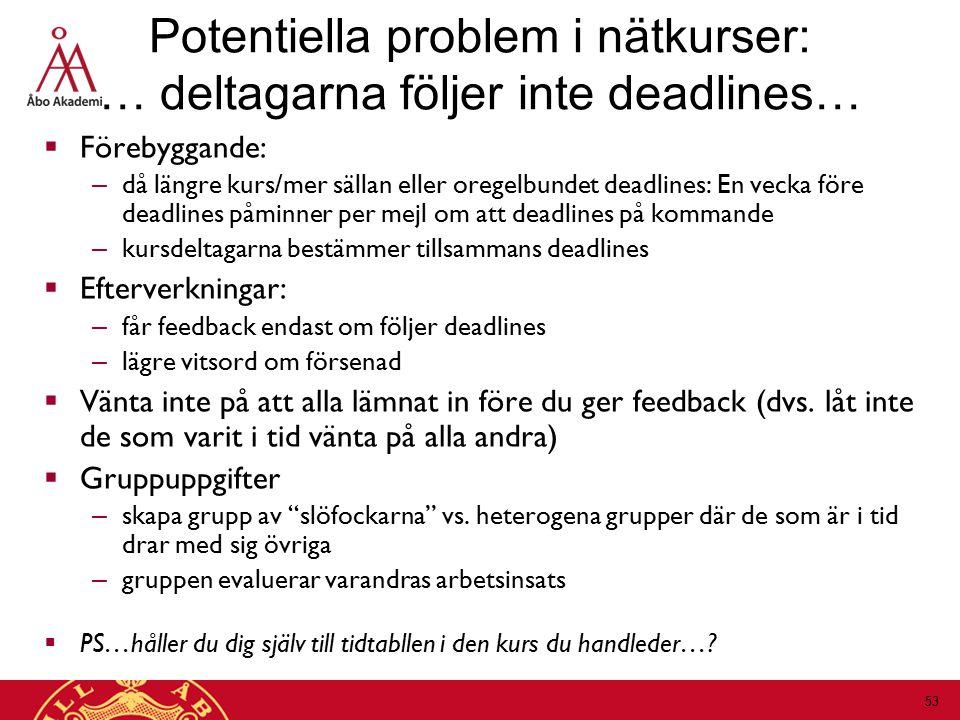 Potentiella problem i nätkurser: … deltagarna följer inte deadlines…
