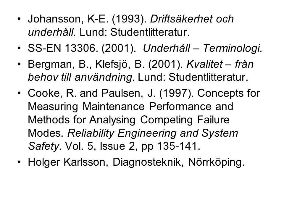 Johansson, K-E. (1993). Driftsäkerhet och underhåll