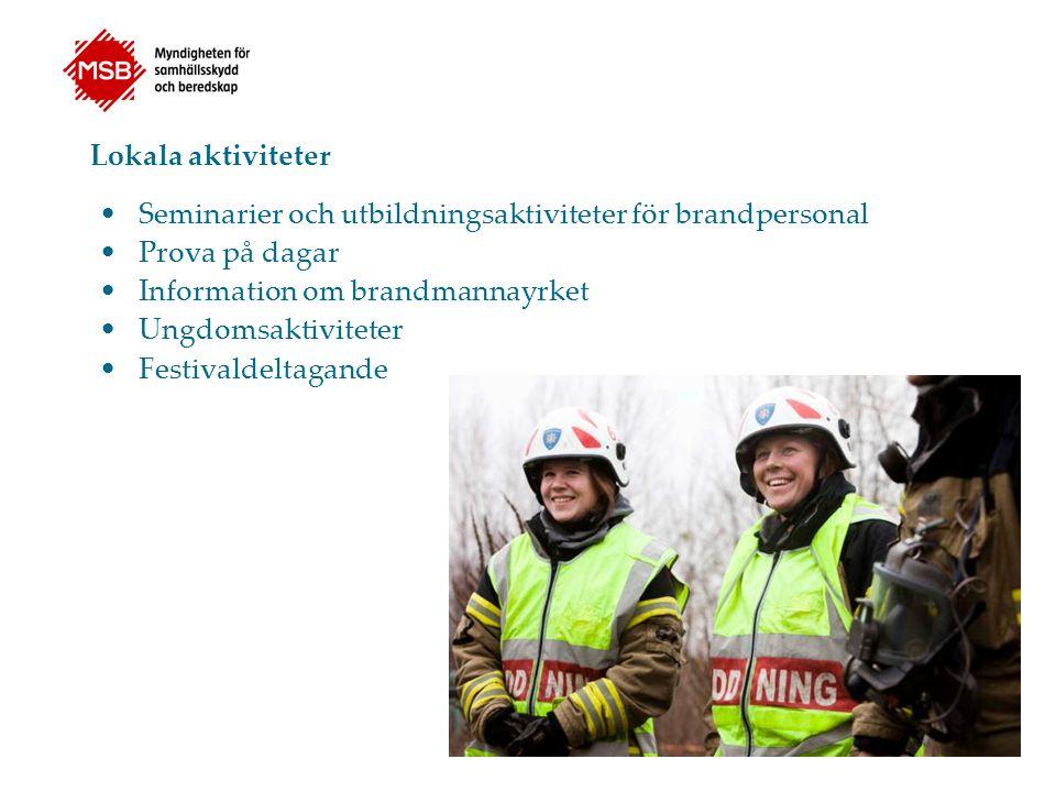 Lokala aktiviteter Seminarier och utbildningsaktiviteter för brandpersonal. Prova på dagar. Information om brandmannayrket.
