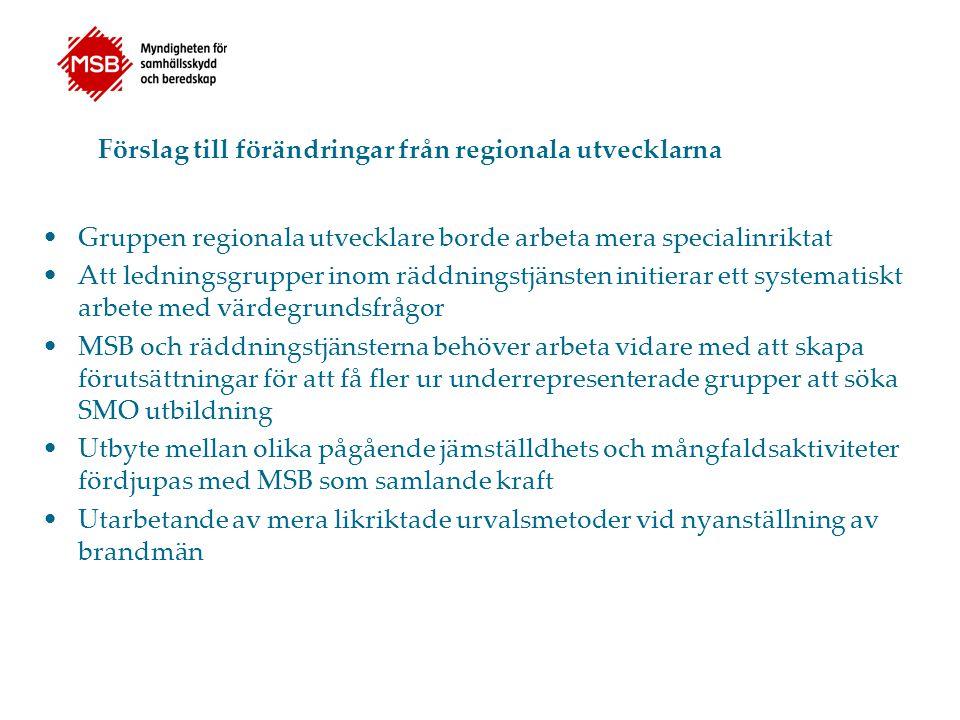 Förslag till förändringar från regionala utvecklarna