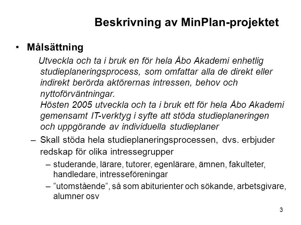 Beskrivning av MinPlan-projektet