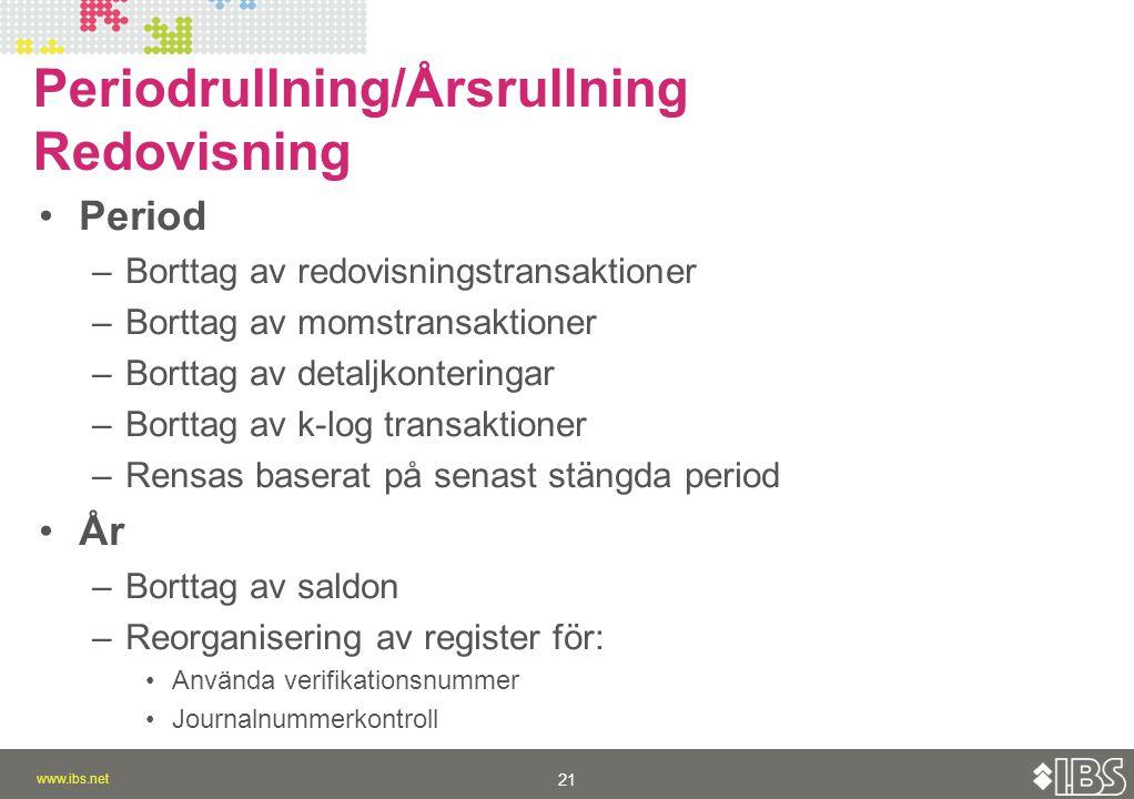 Periodrullning/Årsrullning Redovisning