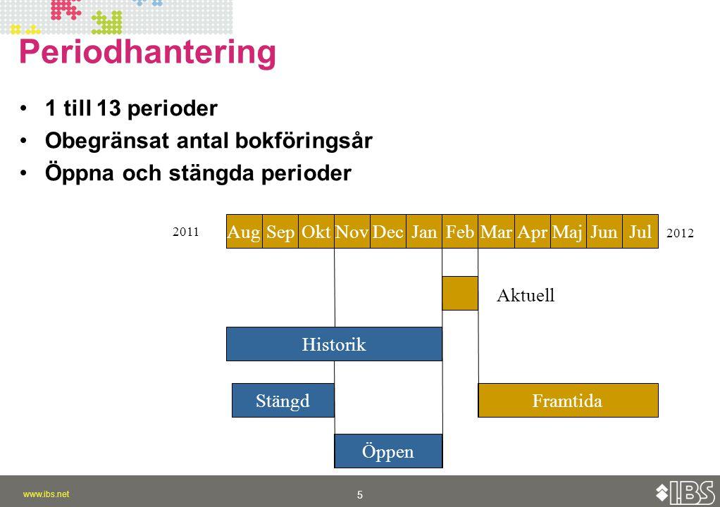 Periodhantering 1 till 13 perioder Obegränsat antal bokföringsår