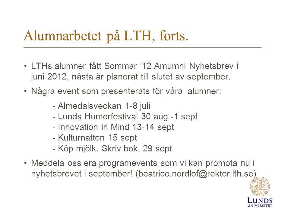 Alumnarbetet på LTH, forts.