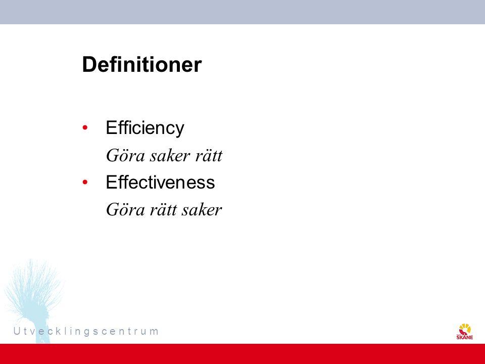 Definitioner Efficiency Göra saker rätt Effectiveness Göra rätt saker