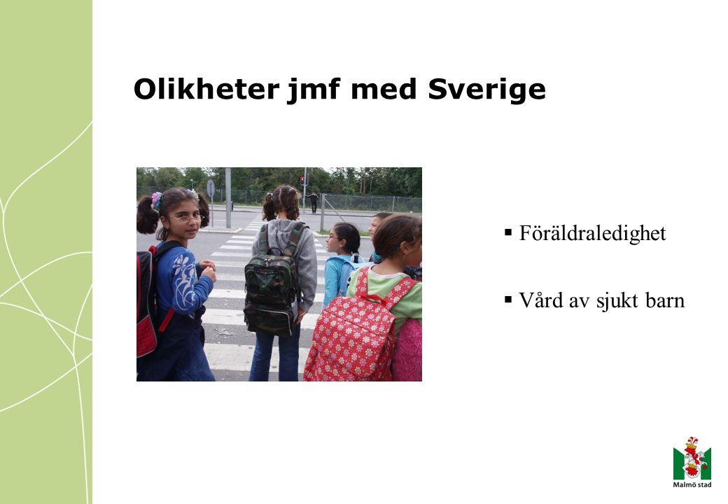 Olikheter jmf med Sverige