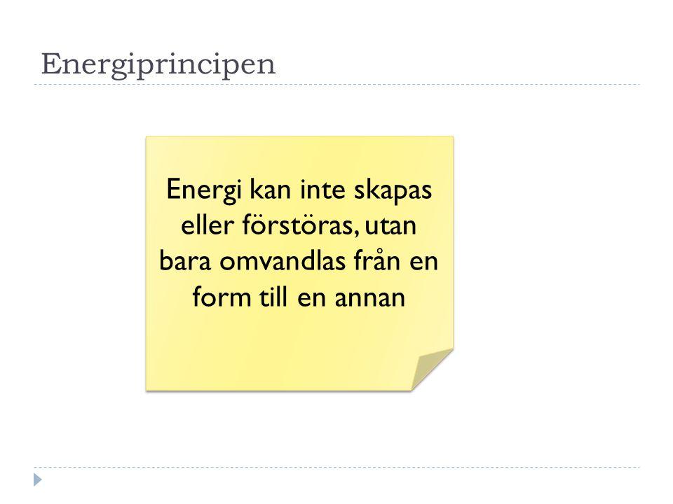 Energiprincipen Energi kan inte skapas eller förstöras, utan bara omvandlas från en form till en annan.