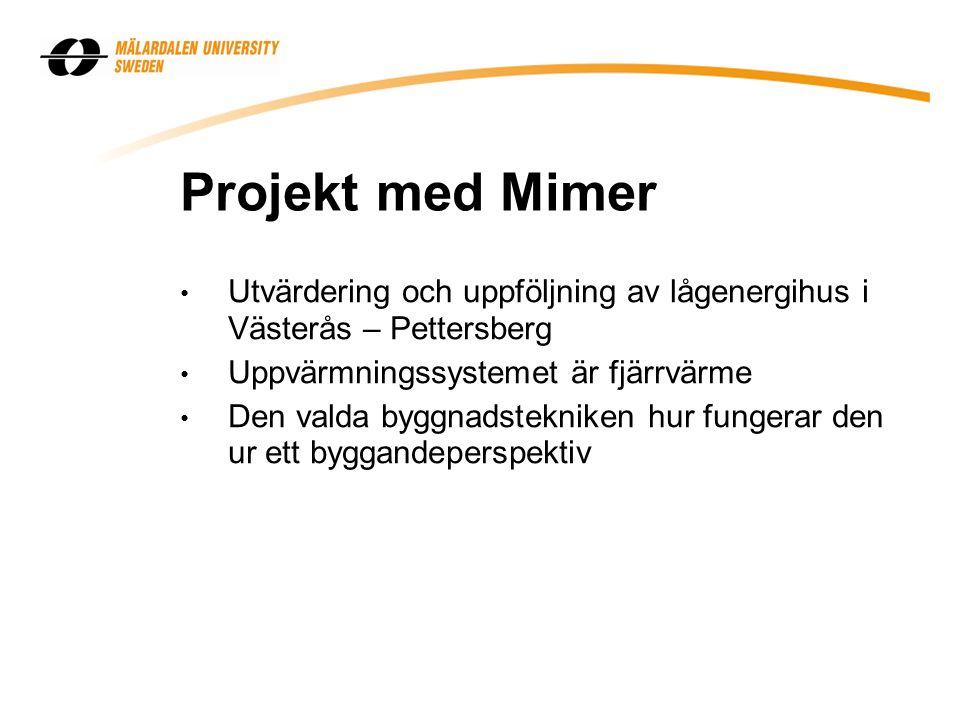 Projekt med Mimer Utvärdering och uppföljning av lågenergihus i Västerås – Pettersberg. Uppvärmningssystemet är fjärrvärme.