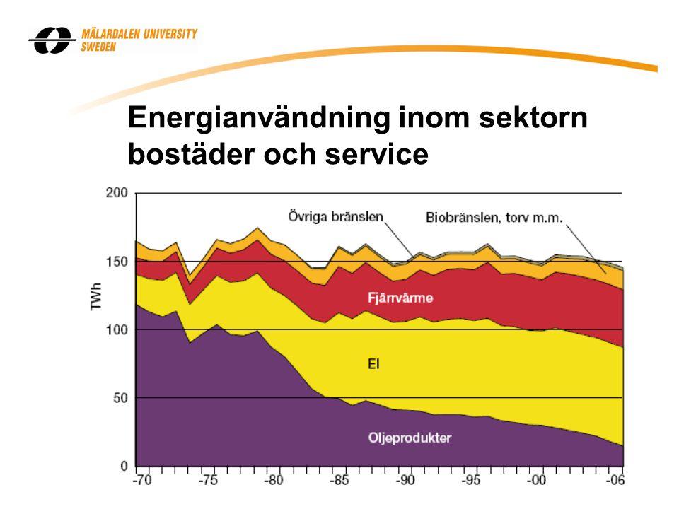 Energianvändning inom sektorn bostäder och service
