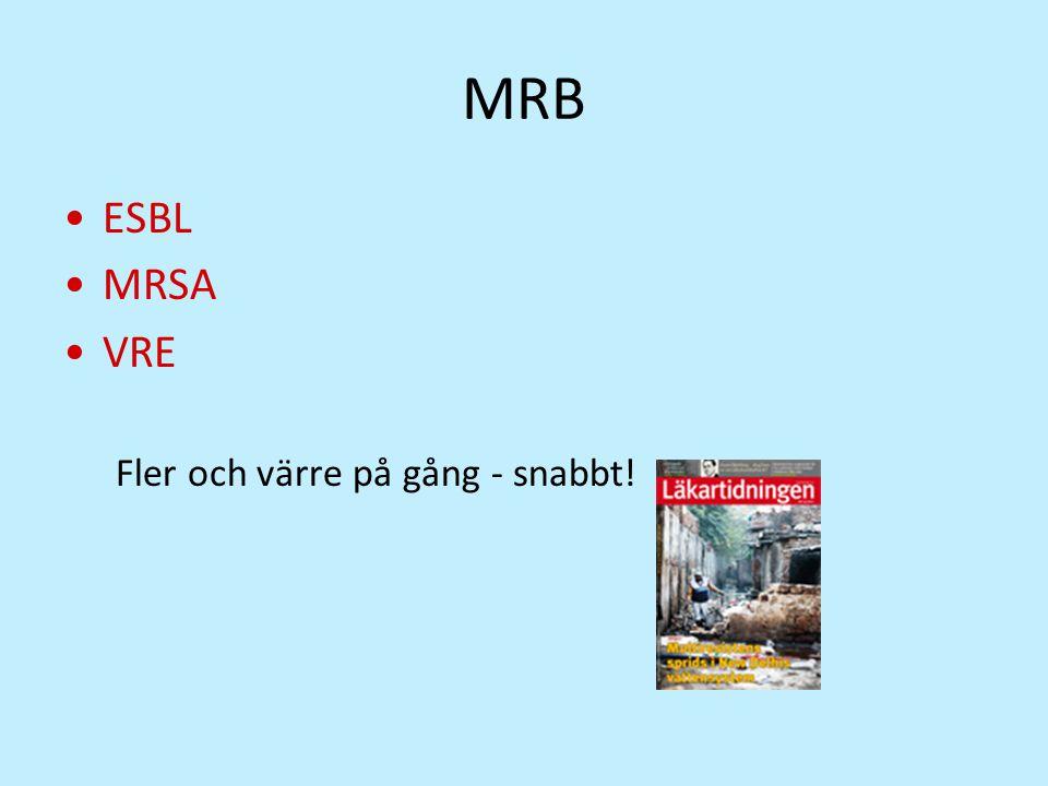 MRB ESBL MRSA VRE Fler och värre på gång - snabbt!
