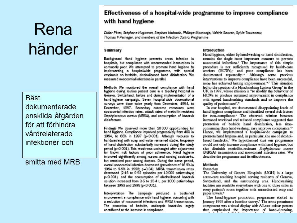 Rena händer Bäst dokumenterade enskilda åtgärden för att förhindra vårdrelaterade infektioner och smitta med MRB.