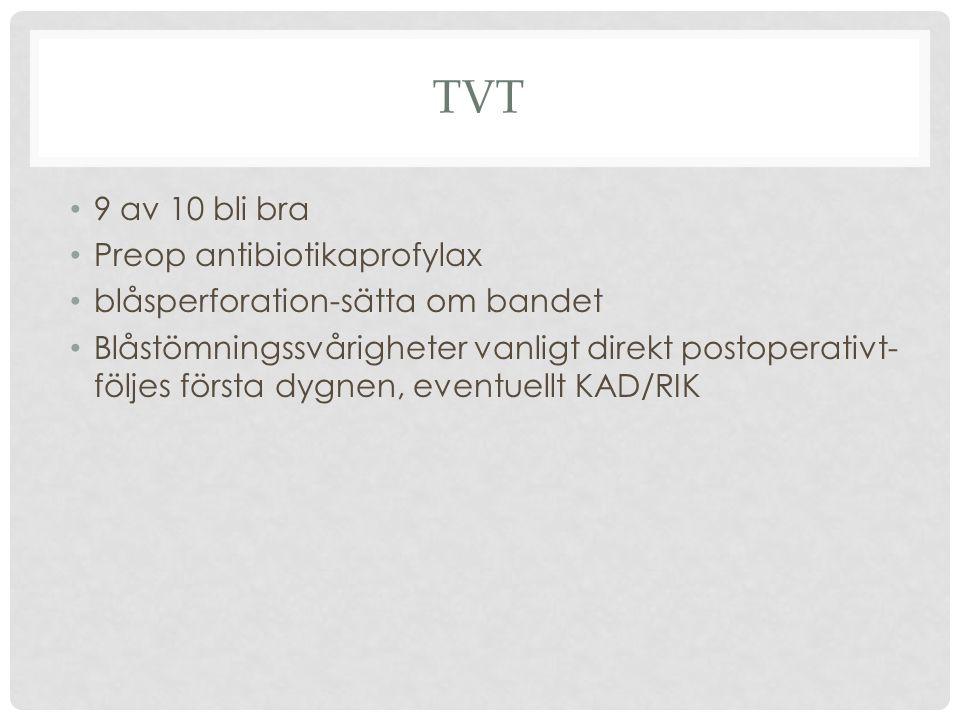 TVT 9 av 10 bli bra Preop antibiotikaprofylax