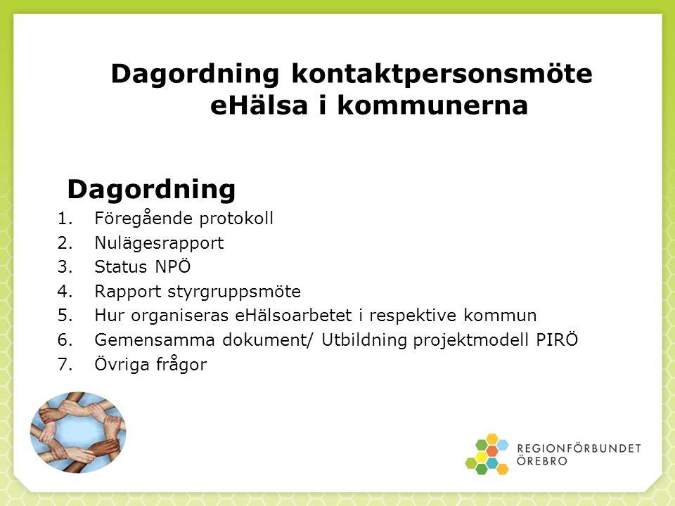 Dagordning kontaktpersonsmöte eHälsa i kommunerna