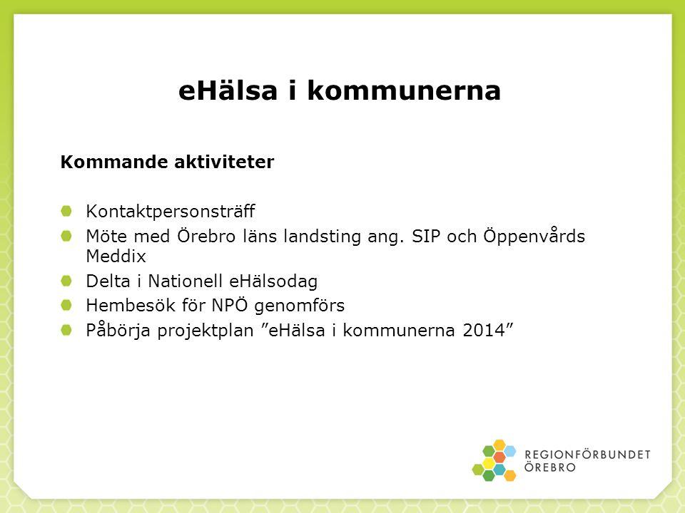 eHälsa i kommunerna Kommande aktiviteter Kontaktpersonsträff