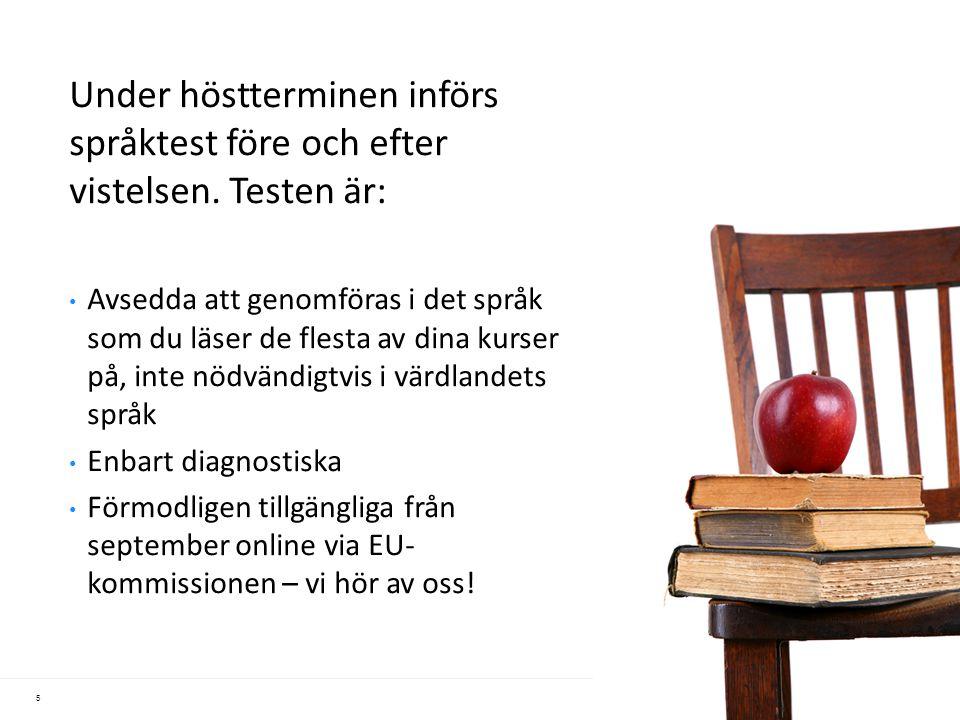 Under höstterminen införs språktest före och efter vistelsen