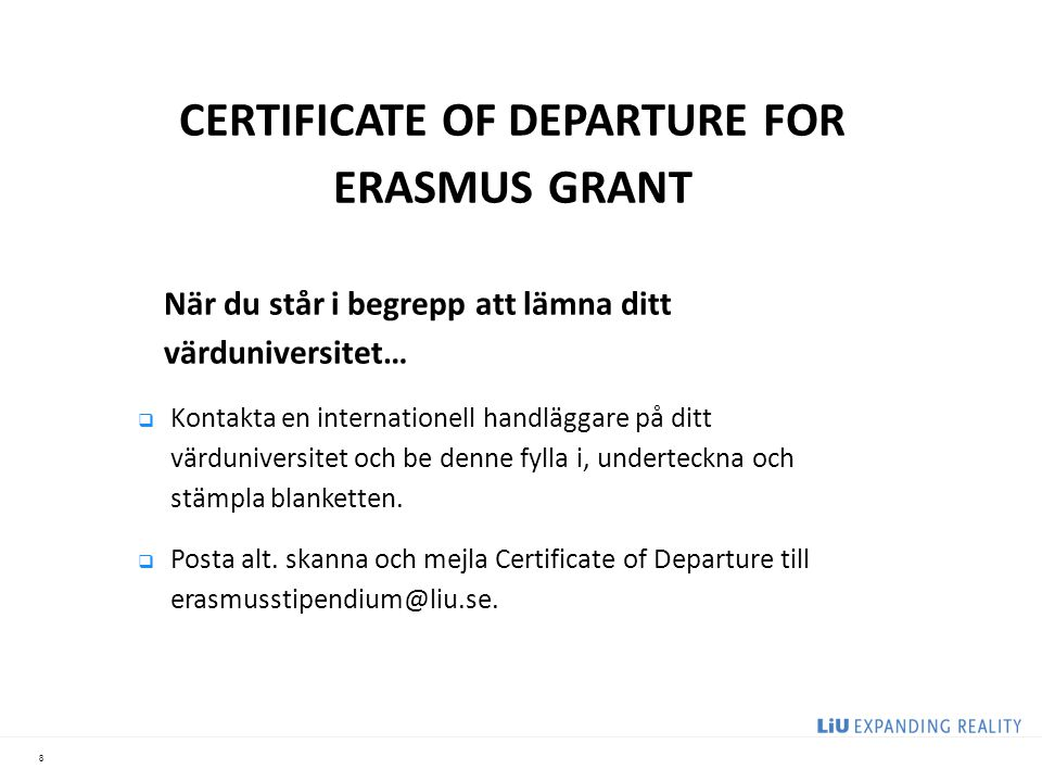 CERTIFICATE OF DEPARTURE FOR ERASMUS GRANT