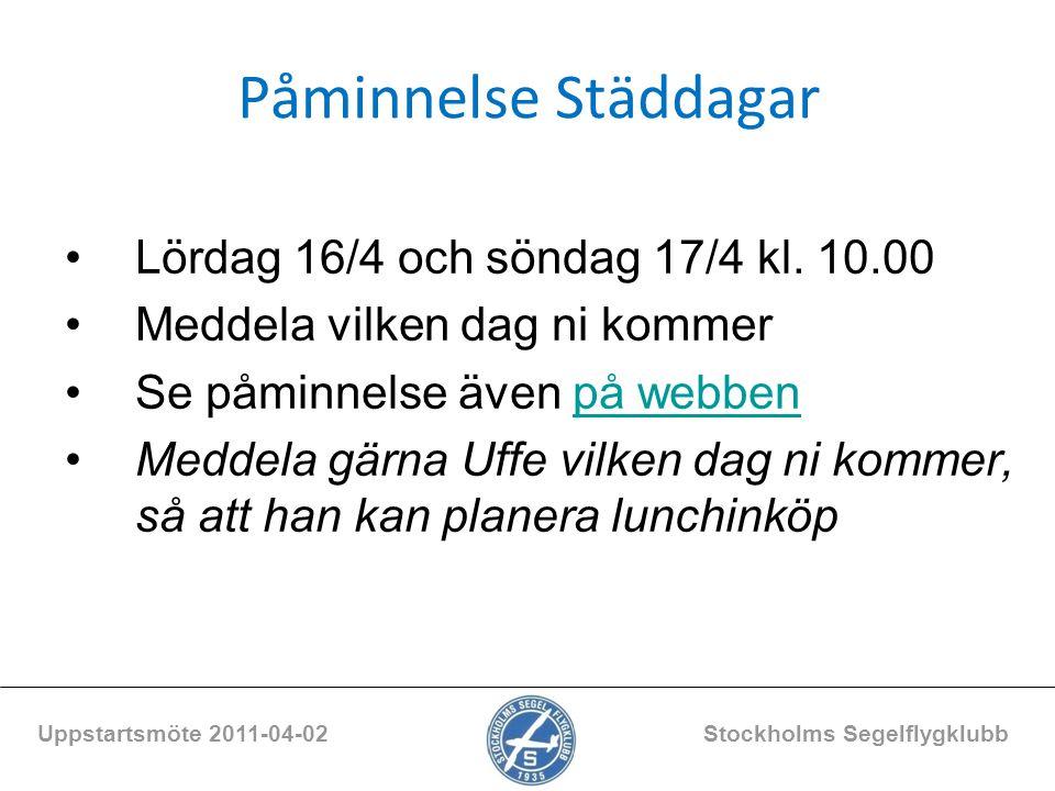 Uppstartsmöte 2011-04-02 Stockholms Segelflygklubb