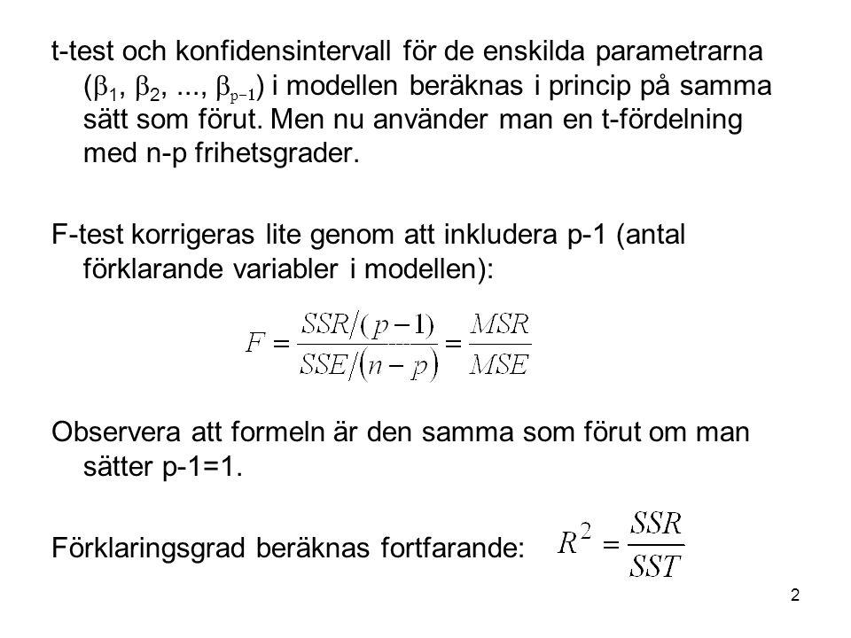 t-test och konfidensintervall för de enskilda parametrarna (b1, b2,