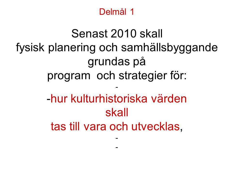Delmål 1 Senast 2010 skall fysisk planering och samhällsbyggande grundas på program och strategier för: - -hur kulturhistoriska värden skall tas till vara och utvecklas, - -