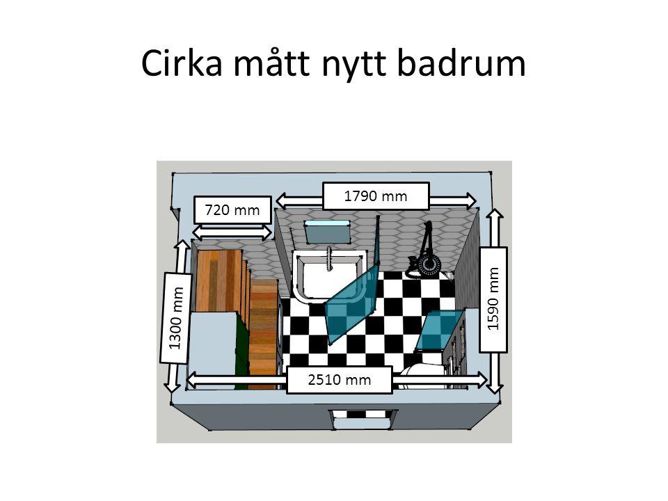 Cirka mått nytt badrum 1790 mm 720 mm 1590 mm 1300 mm 2510 mm
