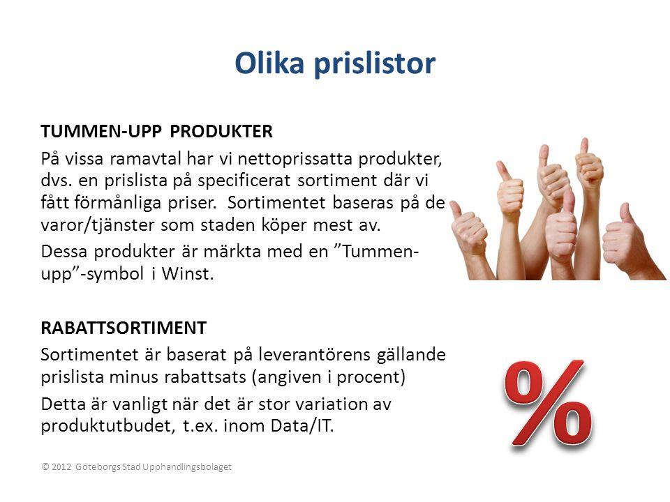 % Olika prislistor TUMMEN-UPP PRODUKTER