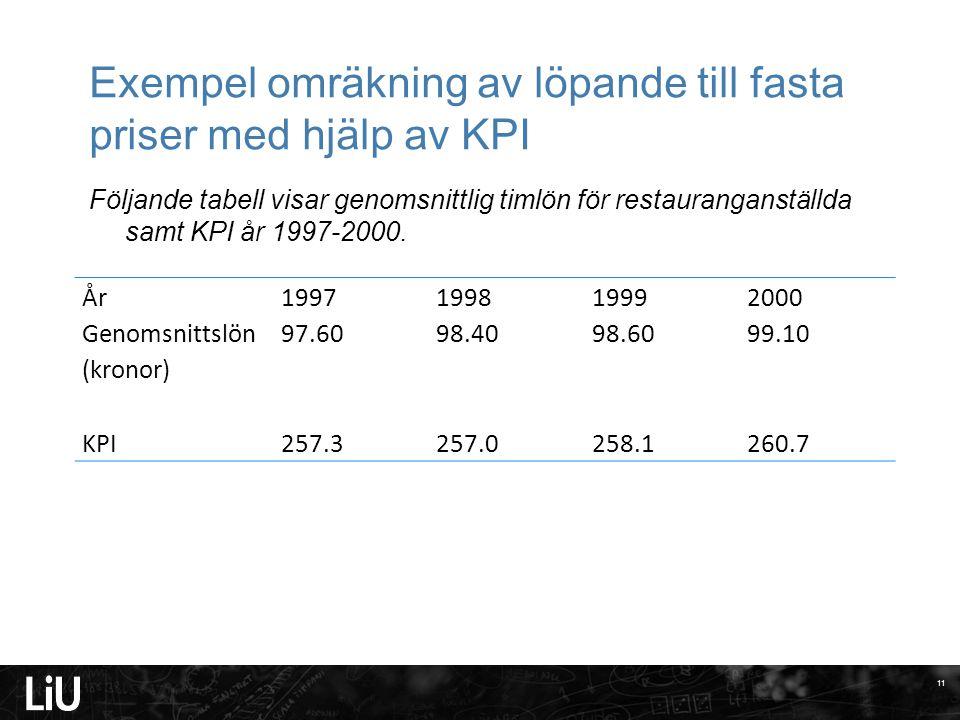 Exempel omräkning av löpande till fasta priser med hjälp av KPI