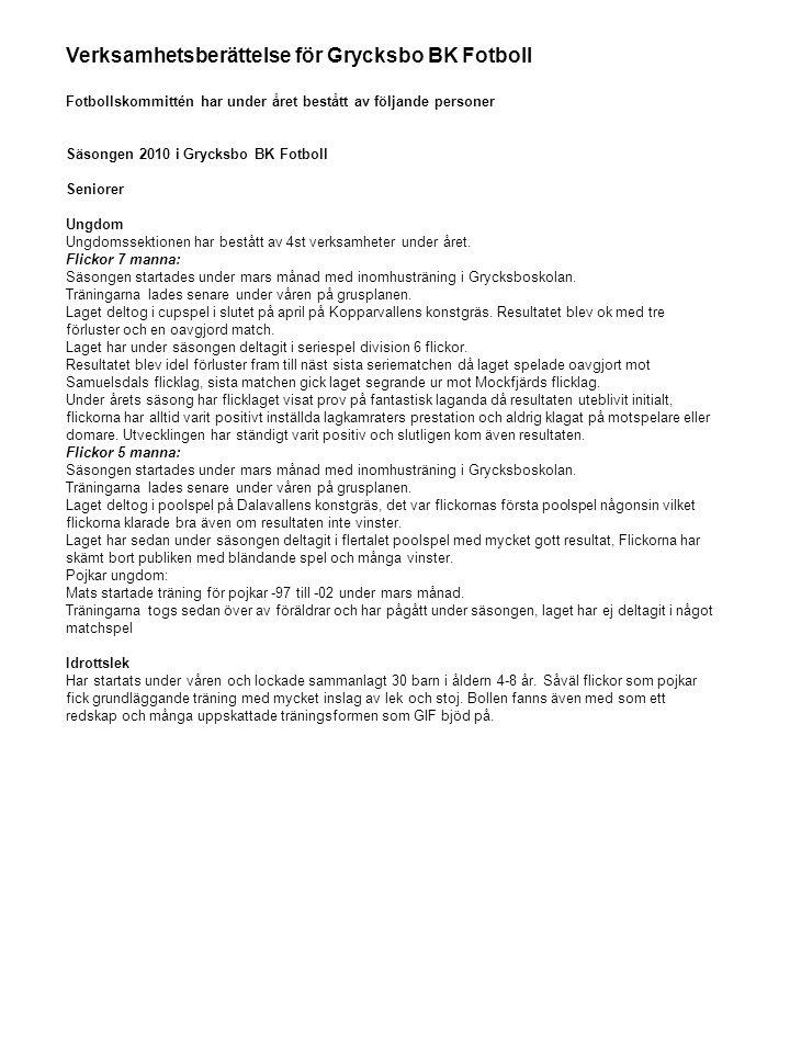 Verksamhetsberättelse för Grycksbo BK Fotboll