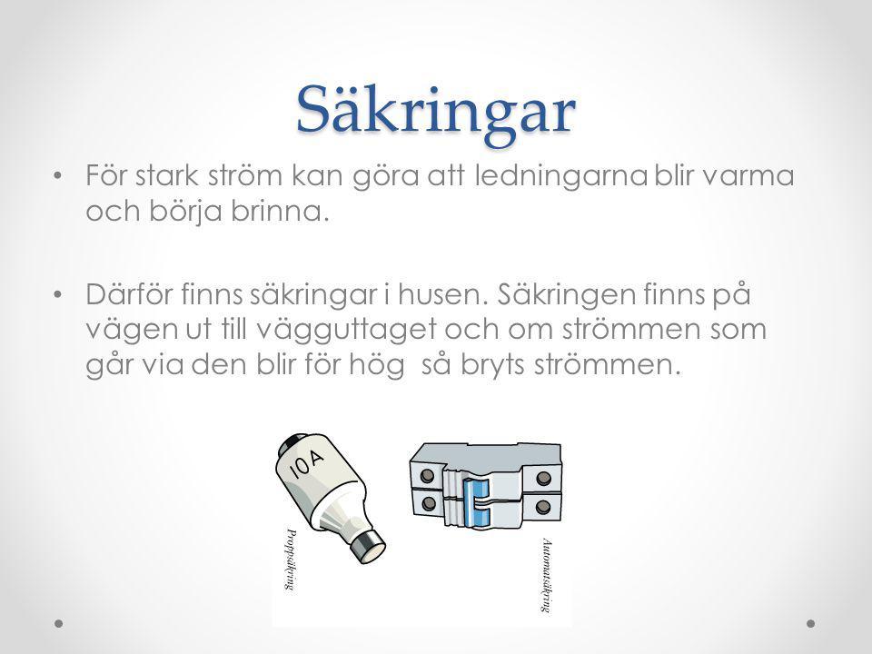 Säkringar För stark ström kan göra att ledningarna blir varma och börja brinna.