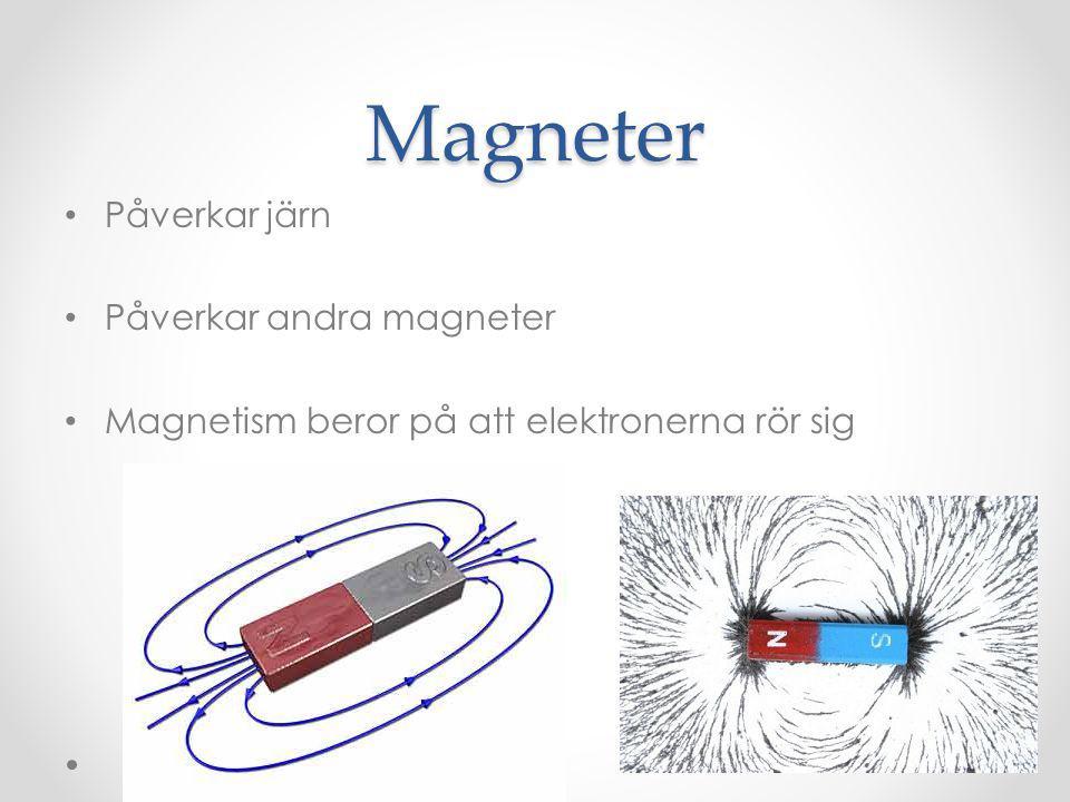 Magneter Påverkar järn Påverkar andra magneter