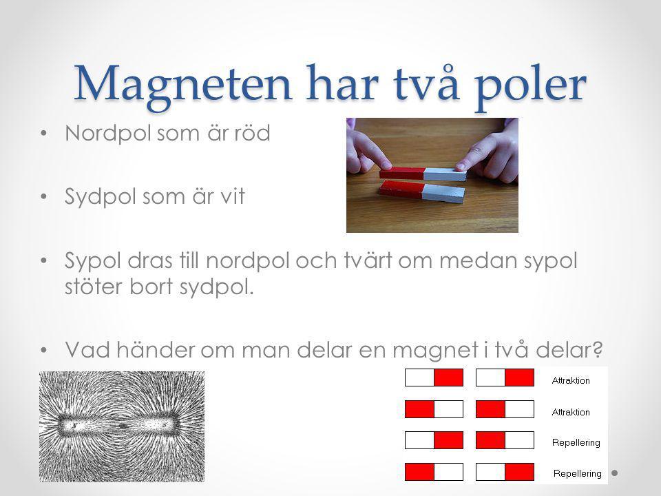 Magneten har två poler Nordpol som är röd Sydpol som är vit