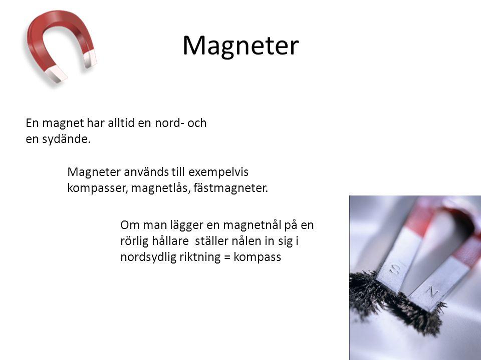 Magneter En magnet har alltid en nord- och en sydände.