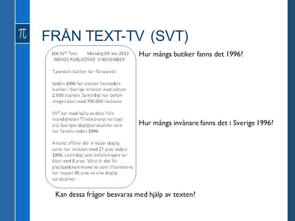 FRÅN TEXT-TV (SVT) Hur många butiker fanns det 1996