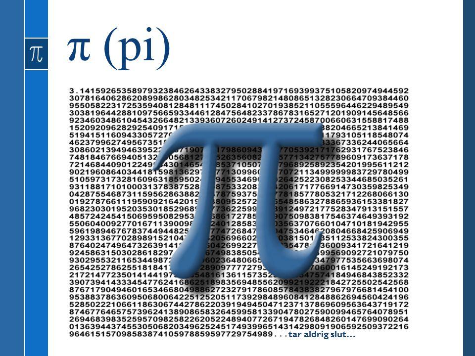 π (pi) tar aldrig slut…