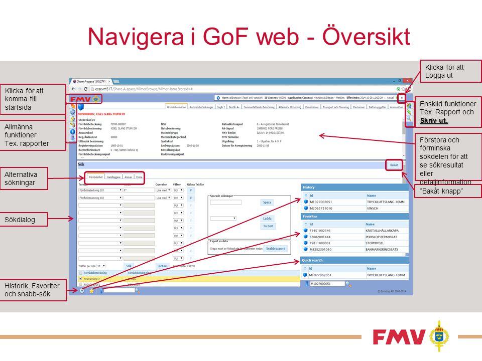 Navigera i GoF web - Översikt