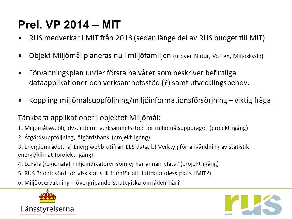 Prel. VP 2014 – MIT RUS medverkar i MIT från 2013 (sedan länge del av RUS budget till MIT)