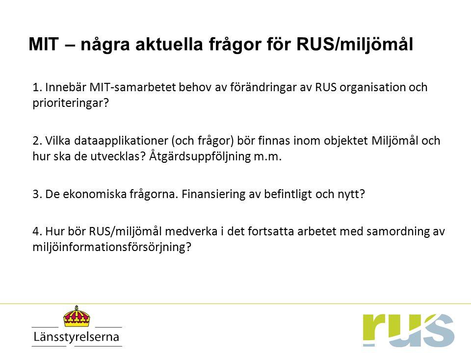 MIT – några aktuella frågor för RUS/miljömål