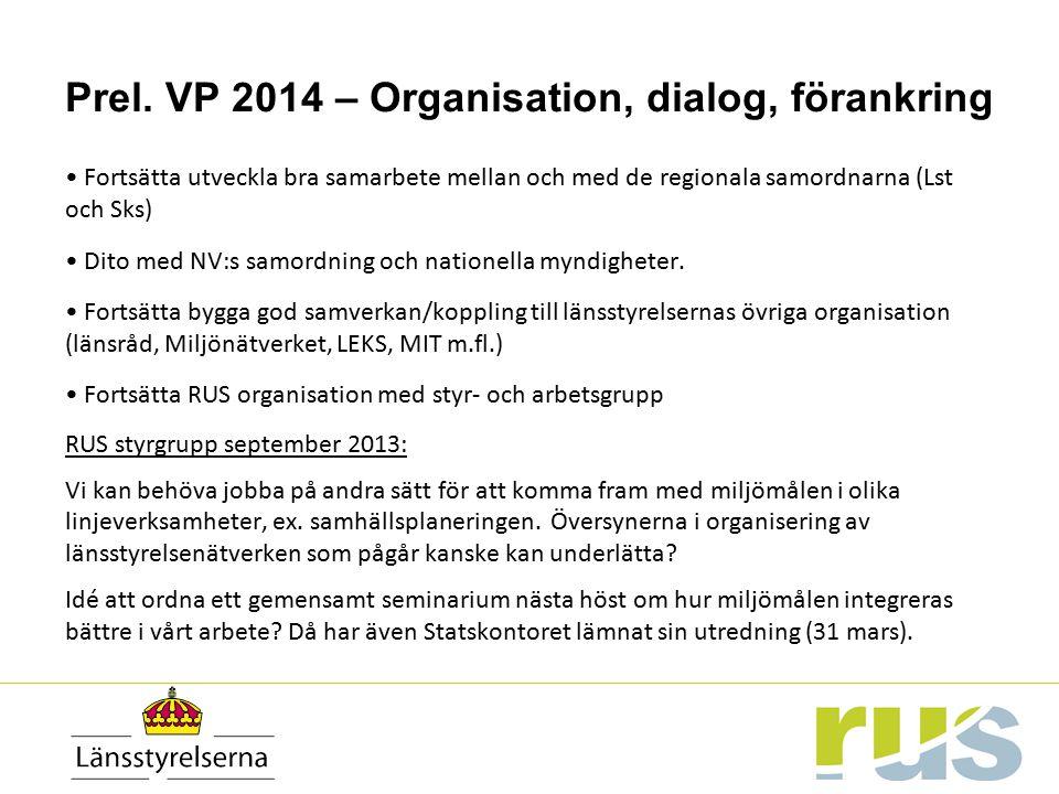 Prel. VP 2014 – Organisation, dialog, förankring