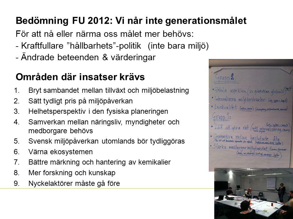 Bedömning FU 2012: Vi når inte generationsmålet