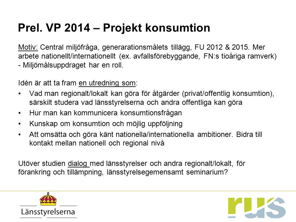 Prel. VP 2014 – Projekt konsumtion