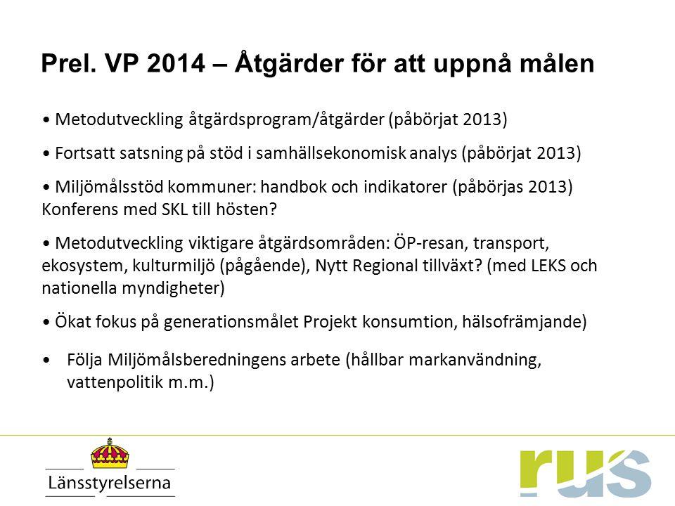 Prel. VP 2014 – Åtgärder för att uppnå målen