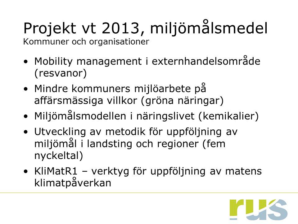 Projekt vt 2013, miljömålsmedel Kommuner och organisationer
