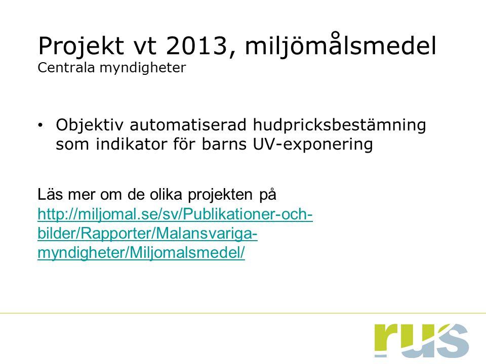 Projekt vt 2013, miljömålsmedel Centrala myndigheter