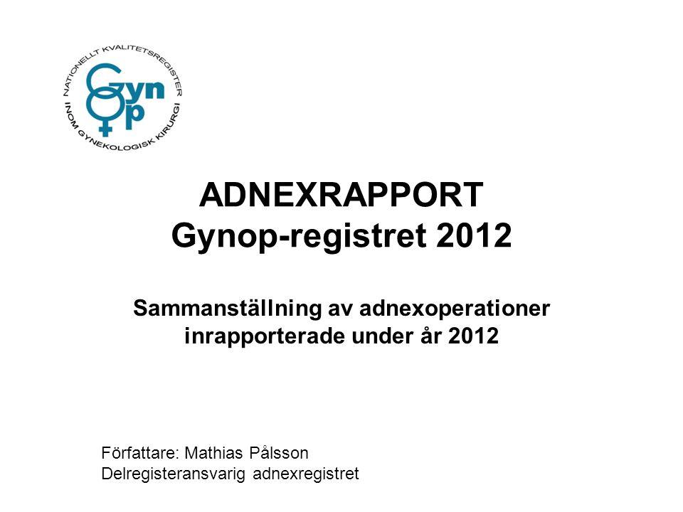 ADNEXRAPPORT Gynop-registret 2012