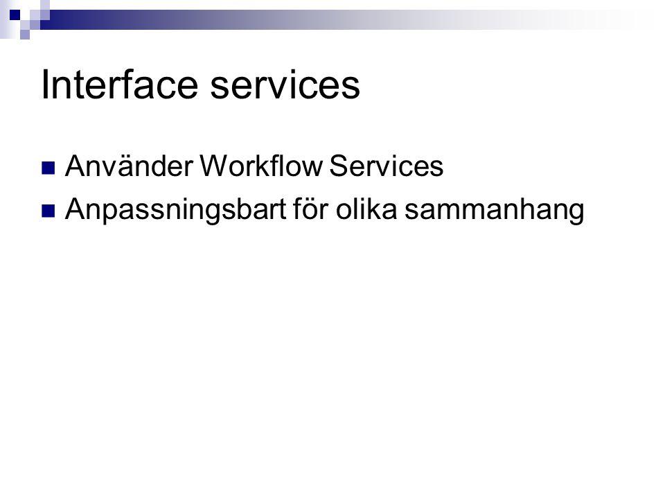 Interface services Använder Workflow Services