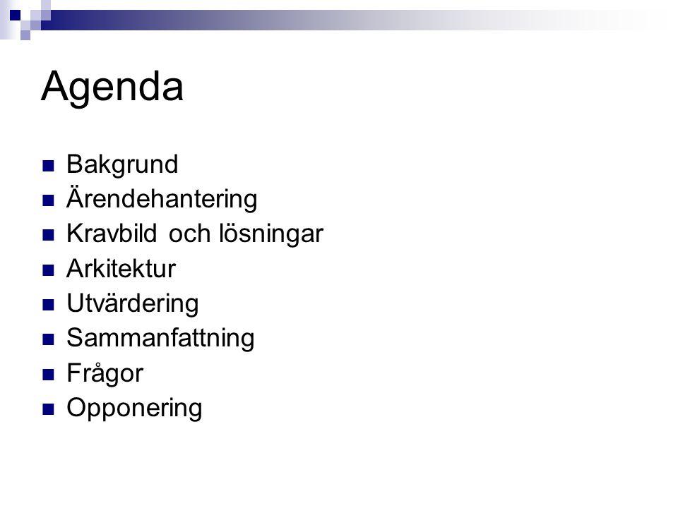 Agenda Bakgrund Ärendehantering Kravbild och lösningar Arkitektur